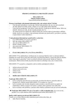PÍSOMNÁ INFORMÁCIA PRE POUŽÍVATEĽOV MEGAMOX 375