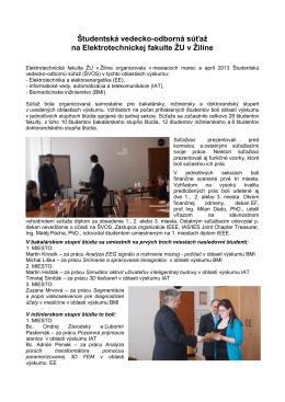 Vyhodnotenie r. 2013 - Elektrotechnická fakulta