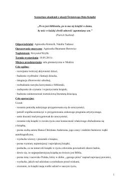 """1 Scenariusz akademii z okazji Światowego Dnia Książki """"Po to jest"""