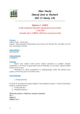 Obec Vlachy Obecný úrad vo Vlachoch 032 13 Vlachy 126