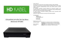 Užívateľský návod SetTopBoxu VIP1003