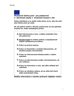 Modelová listina práv pre podozrivé a obvinené osoby v trestnom