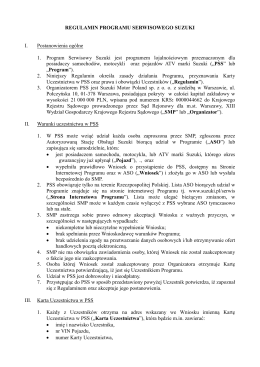 regulamin programu serwisowego suzuki