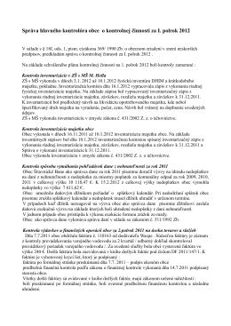 Správa hlavného kontrolóra za 1.polrok 2012
