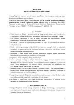 REGULAMIN SKLEPU INTERNETOWEGO MARYLOVE.PL