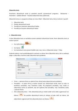 Evidencia zákazníckych kariet - MK-soft