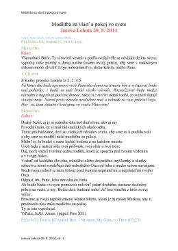 Modlitba za vlasť a pokoj vo svete Janova Lehota 29. 8. 2014