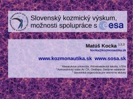 Slovenský kozmický výskum, možnosti spolupráce s ESA
