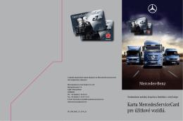 Karta MercedesServiceCard pre úžitkové vozidlá.