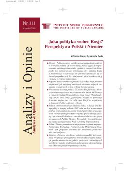 Jaka polityka wobec Rosji? Perspektywa Polski i Niemiec Nr 111