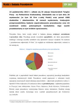Raport - Inżynierskie Targi Pracy Politechniki Krakowskiej