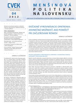 Menšinová politika na Slovensku 4/2012