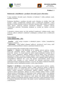 Kritériá hodnotenia -Mikundová