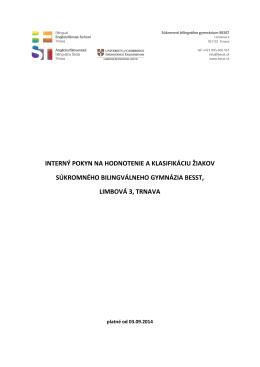 interný pokyn na hodnotenie a klasifikáciu žiakov