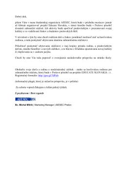 Dobrý deň, píšem Vám v mene študentskej organizácie AIESEC