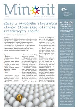 Minorit 2/2013 - Slovenská aliancia zriedkavých chorôb