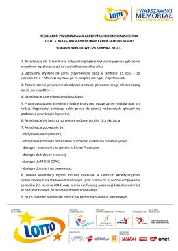 Regulamin akredytacji - Warszawski Memoriał Kamili Skolimowskiej