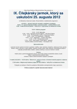 IX. Čilejkársky jarmok, ktorý sa uskutoční 25. augusta 2012