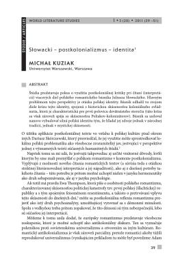 Słowacki – postkolonializmus – identita1 Michał KuziaK