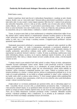 Pastiersky list biskupov Filipovka 2014