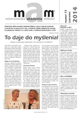 (czerwiec) 2014 r. - Mistrzowska Akademia Miłości