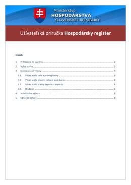 Užívateĺská príručka - Hospodársky register subjektov SR