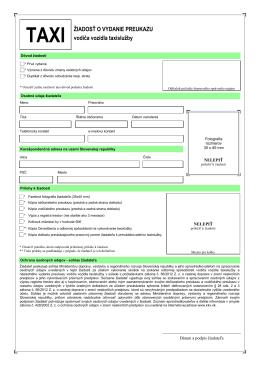 Žiadosť o vydanie preukazu vodiča vozidla taxislužby