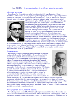 Kurt GÖDEL – hranica deduktívnych systémov ľudského