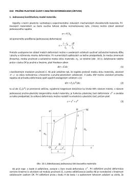 D10. Základné pojmy Jednoosový konštitutívny model materiálu