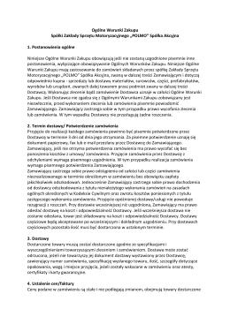 Ogólne Warunki Zakupu Spółki ZSM POLMO S.A.