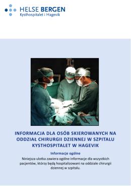 informacja dla osób skierowanych na oddział