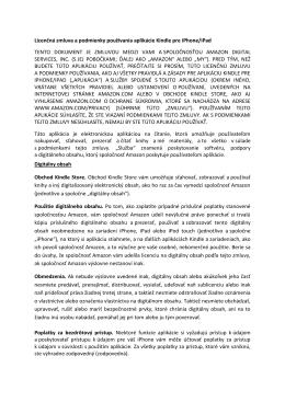 Licenčná zmluva a podmienky používania aplikácie Kindle pre