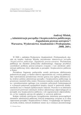 """Andrzej Misiuk, """"Administracja porządku i"""