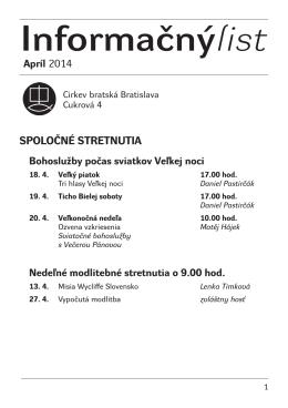 Informačnýlist Apríl 2014 - Cirkev bratská v Bratislave