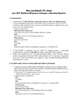 Ako poukázať 2% z dane UPC v Banskej Bystrici