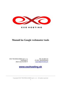 Manuál ku Google webmaster tools