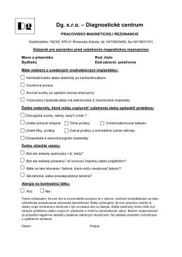 Bezpečnostný dotazník pred vyšetrením MR