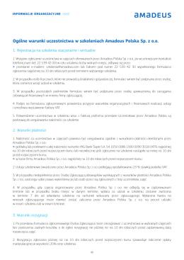 Ogólne warunki uczestnictwa w szkoleniach Amadeus Polska Sp. z oo