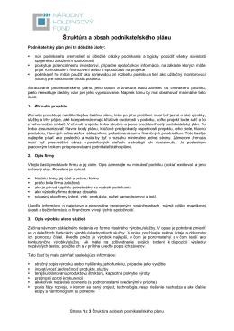Štruktúra a obsah podnikateľského plánu