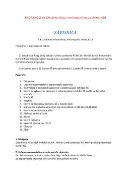 ZÁPISNICA - Základná škola s materskou školou Unín