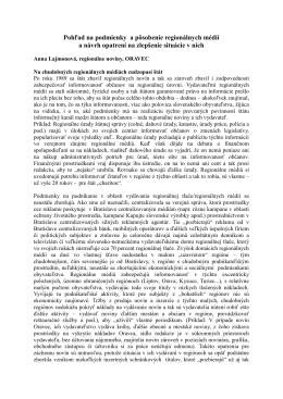 Pohľad na podmienky a pôsobenie regionálnych médií a návrh