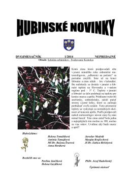 Hubinské novinky 1/2014