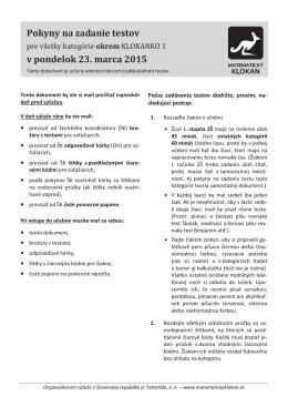 Pokyny na zadanie testov v pondelok 23. marca 2015