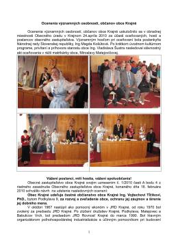Ocenenia významných osobností, občanov obce Krajné (PDF)