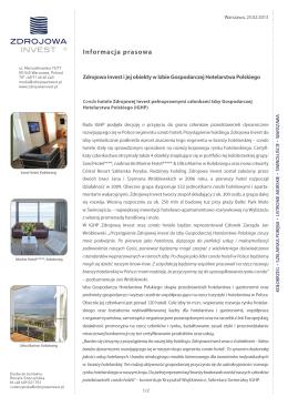 Zdrojowa Invest i jej obiekty w Izbie Gospodarczej Hotelarstwa