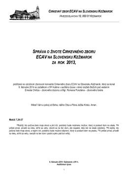 Správa o cirkevnom zbore za rok 2013