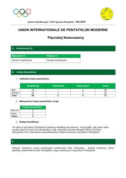 Rio 2016 System Kwalifikacji Pięciobój Nowoczesny