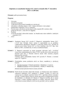 Zápisnica zo zasadnutia Snemu SAV 17. 12. 2013