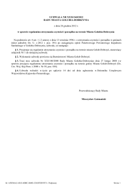 UCHWAŁA NR XXXI/160/2012 RADY MIASTA GOLUBIA