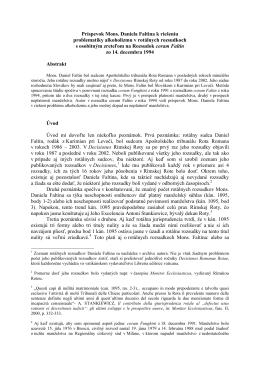 Ján DUDA, Príspevok Mons. Daniela Faltina k riešeniu problematiky
